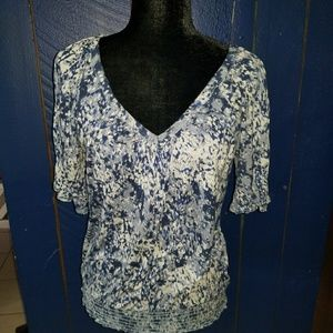 Sz LG Blue and white Blouse from Mudd